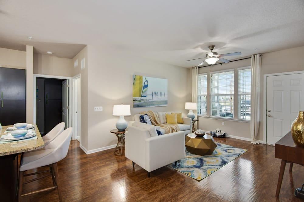 Model living room at Springs at Port Orange in Port Orange, Florida