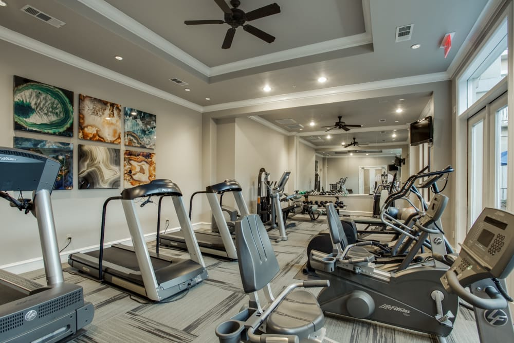 Rienzi at Turtle Creek Apartments offers a fitness center in Dallas, Texas
