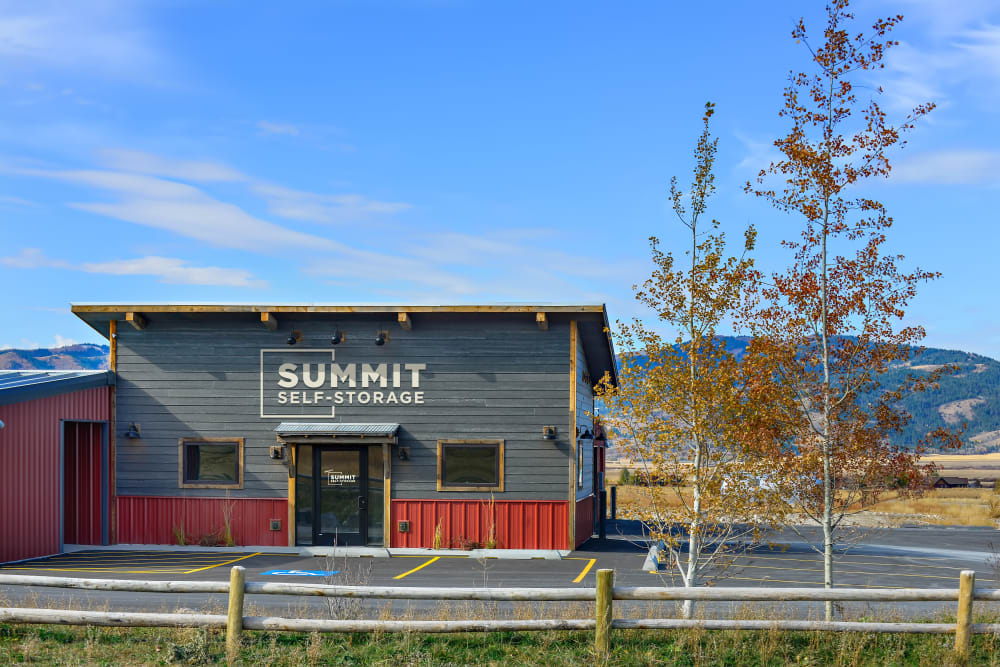 Front entrance to Summit Self-Storage in Victor, Idaho