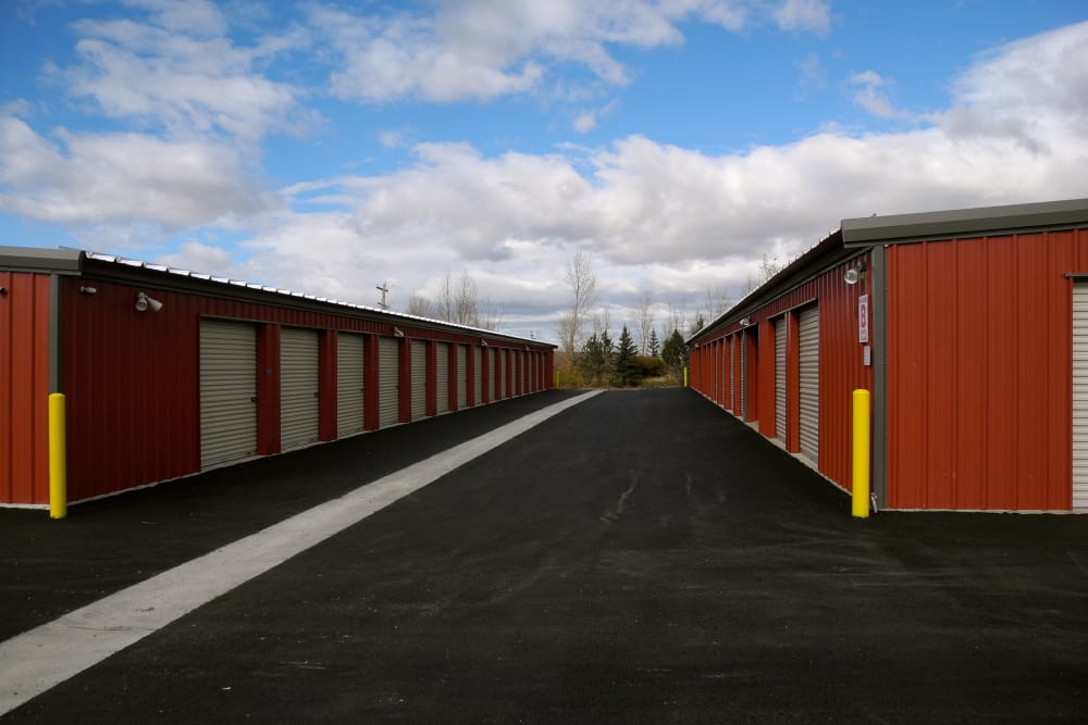 Wide driveway and storage units at Summit Self-Storage in Victor, Idaho