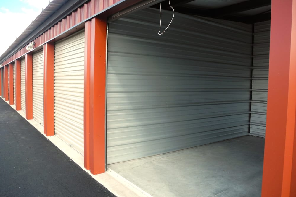 Open door to storage unit at Summit Self-Storage in Victor, Idaho