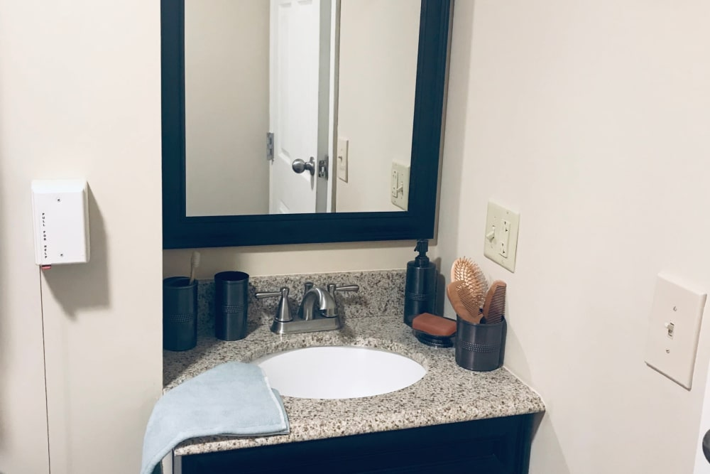 Bathroom sink and vanity at Anchor Bay at Greenwich in East Greenwich, Rhode Island