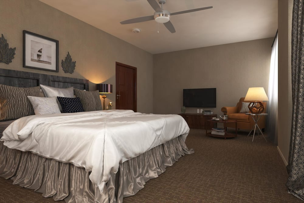 Bedroom example at Hollywood Hills, A Pacifica Senior Living Community in Los Angeles, California