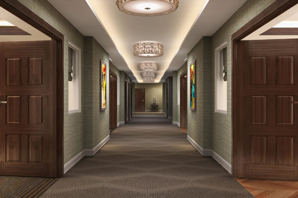 Hallway at Hollywood Hills, A Pacifica Senior Living Community in Los Angeles, California