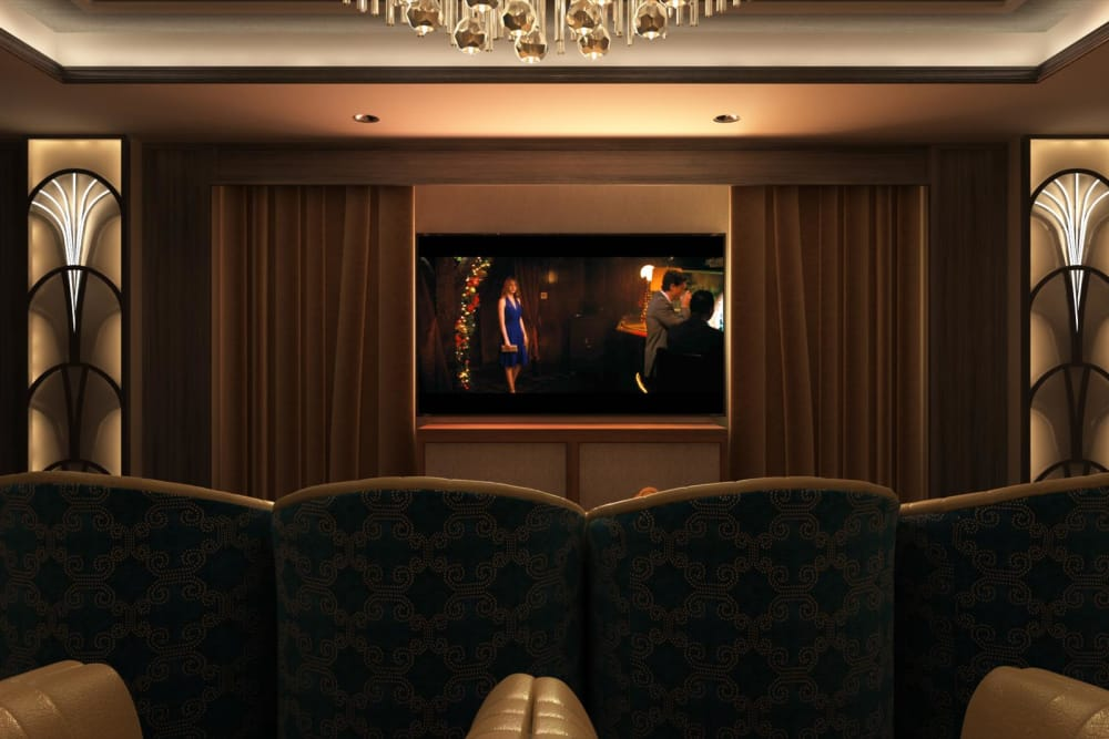 Movie screen at Hollywood Hills, A Pacifica Senior Living Community in Los Angeles, California