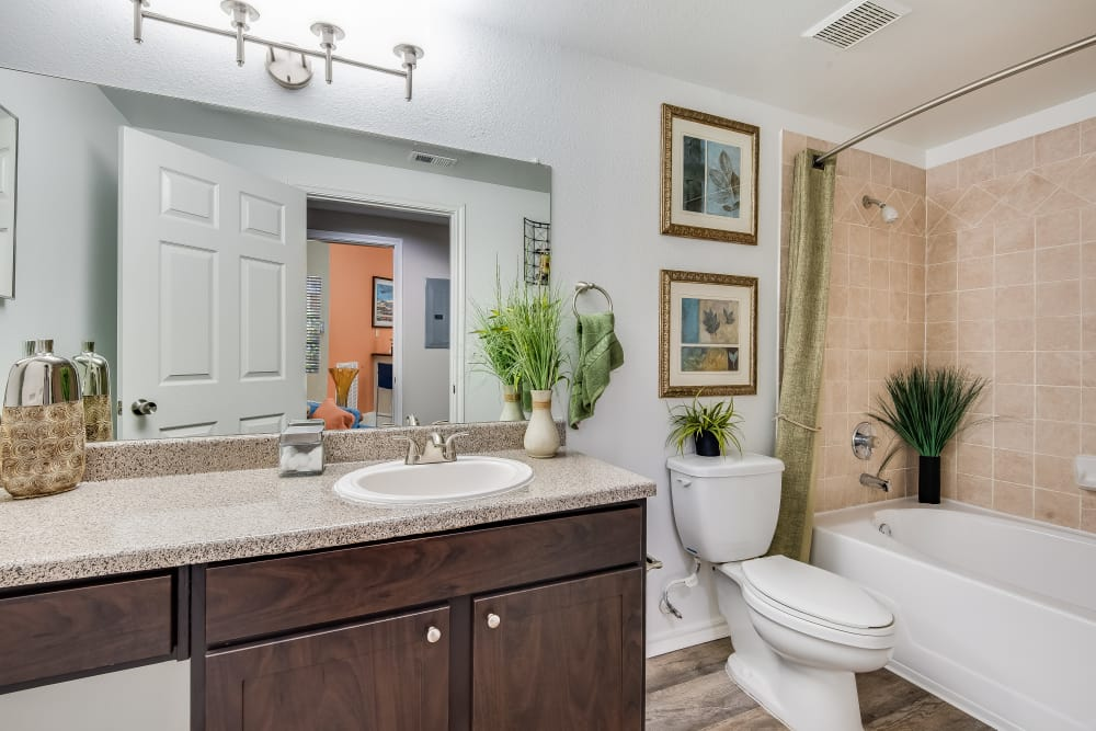 Bathroom with spacious countertop and tub at Ravinia Apartments