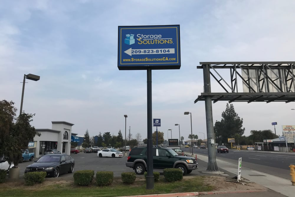 Company Sign at Storage Solutions in Manteca, California
