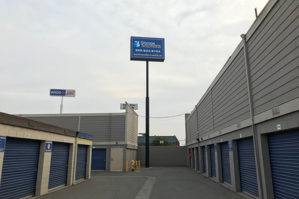 Sign in front of Storage Solutions in Manteca, California