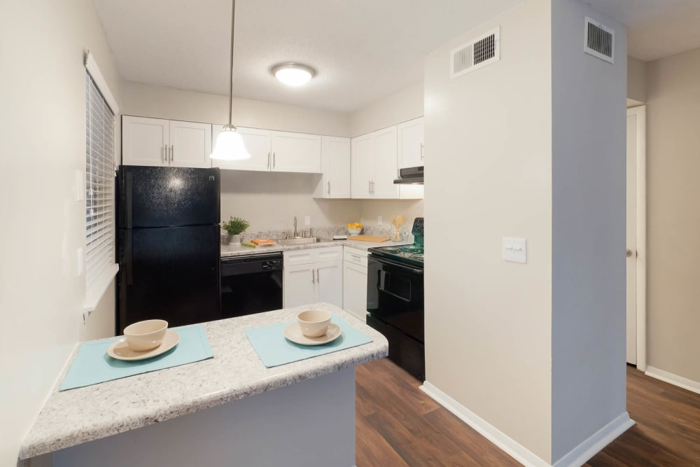 Modern black appliances at Riverside North in Chattanooga, Tennessee