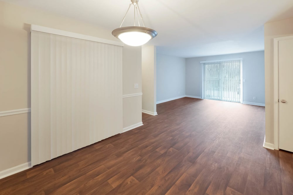 Living room with hardwood flooring at Normandy Apartments in Chattanooga, Tennessee