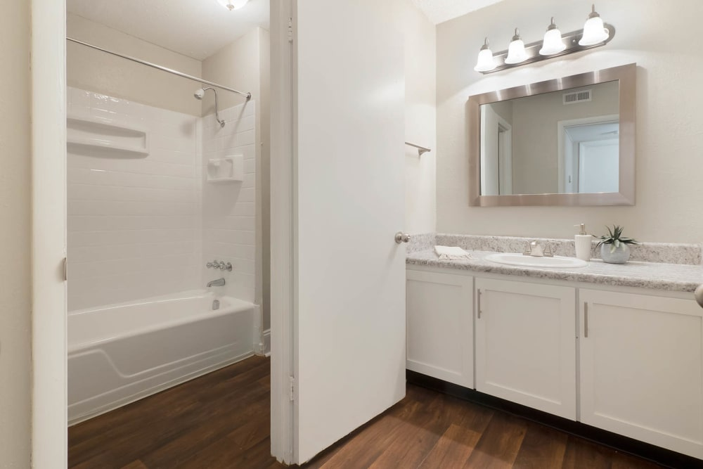 Bright, modern bathroom at Normandy Apartments in Chattanooga, Tennessee