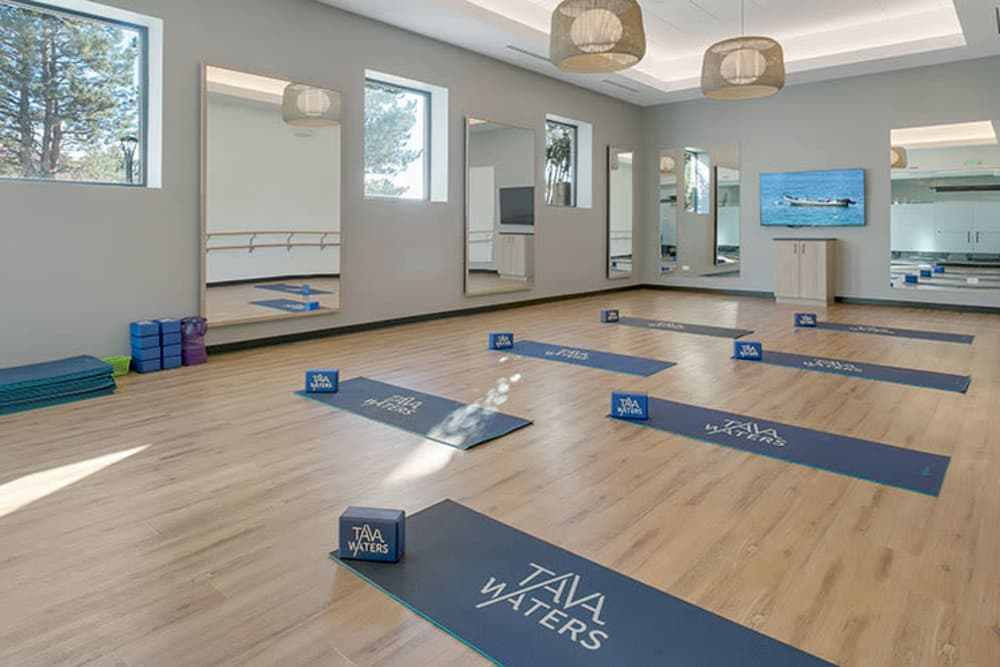 Yoga mats in gym at TAVA Waters in Denver, Colorado