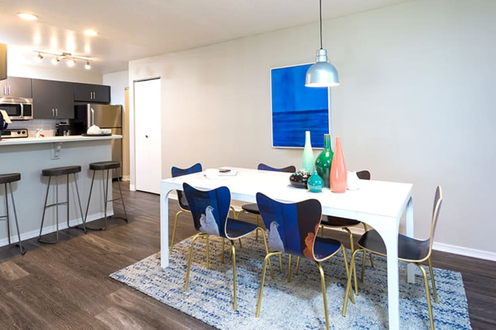 Modern dining space at TAVA Waters in Denver, Colorado