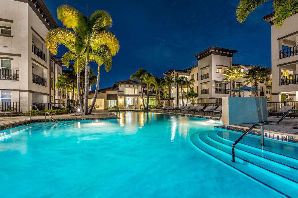 Pool at night at Jefferson Westshore in Tampa, Florida