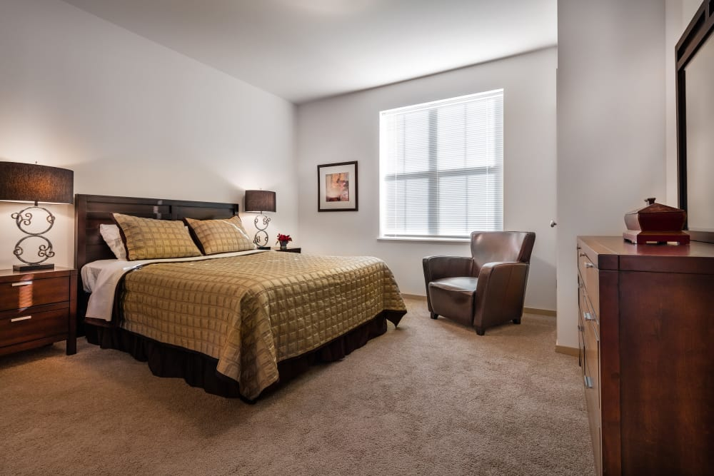 Master bedroom at The West End Apartments in Verona, Wisconsin