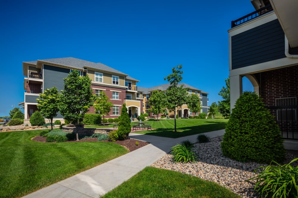 Exterior on a sunny day at The West End Apartments in Verona, Wisconsin