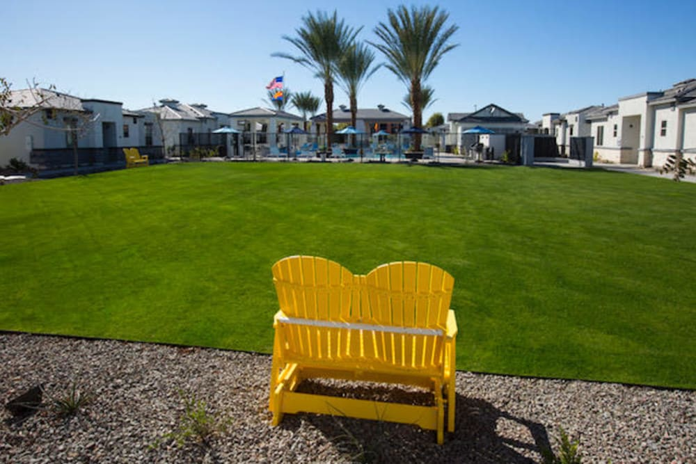 Outdoor seating along community lawn at Christopher Todd Communities On Greenway in Surprise, Arizona