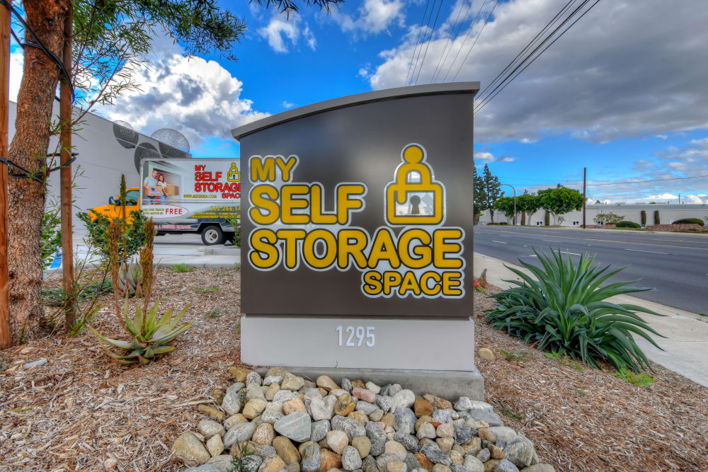 Welcome sign at My Self Storage Space in Brea, California