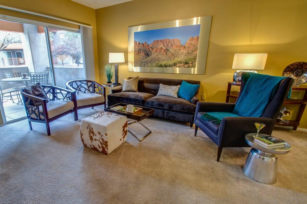 Model living room at The Golf Villas at Oro Valley in Tucson, Arizona