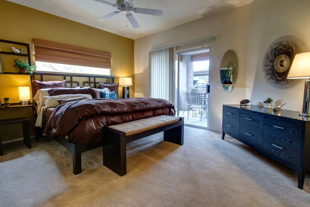 Bright, spacious bedroom at The Golf Villas at Oro Valley in Tucson, Arizona