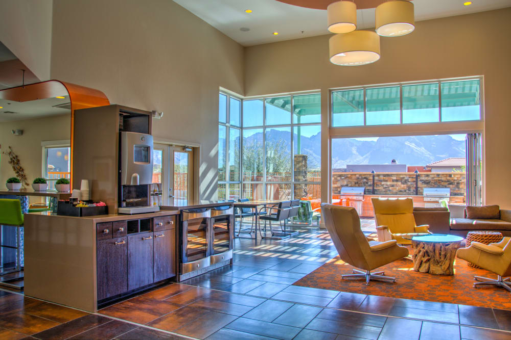 Clubhouse with a coffee bar at The Golf Villas at Oro Valley in Tucson, Arizona