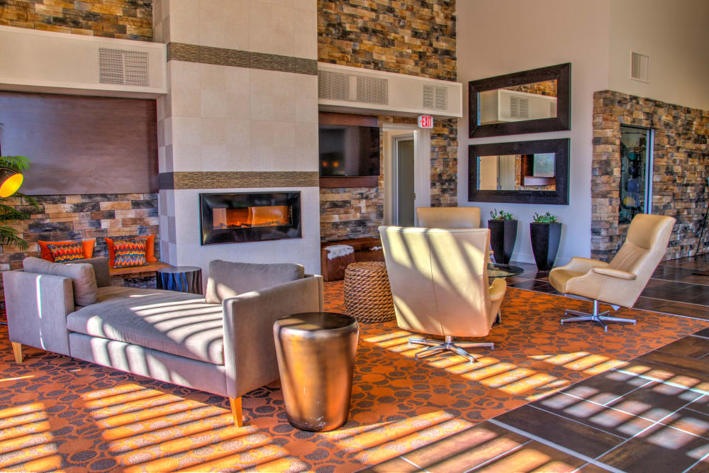Lounge area with fireplace at The Golf Villas at Oro Valley in Tucson, Arizona