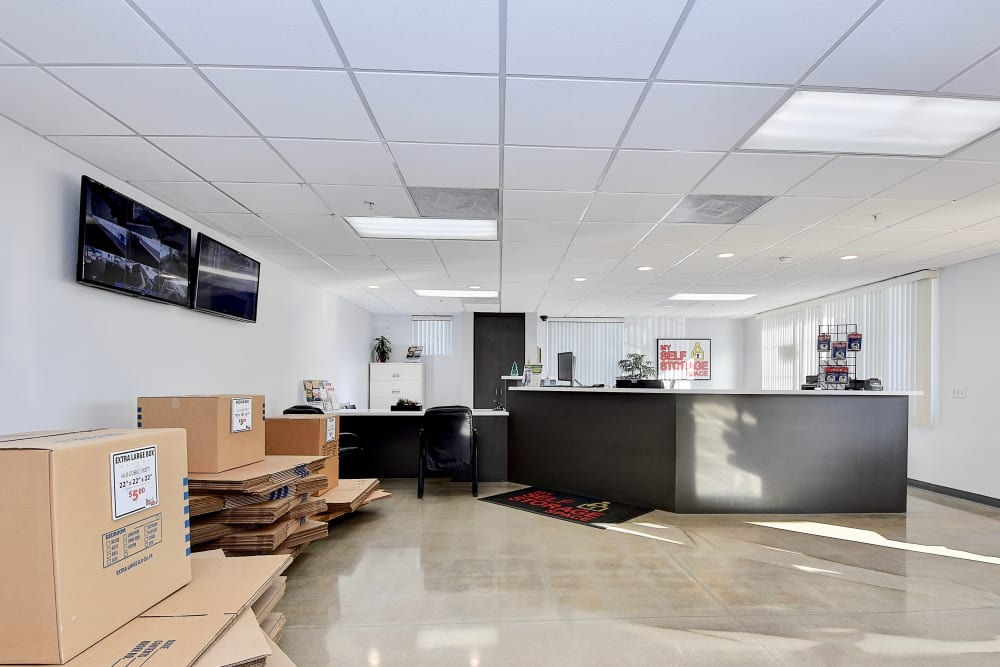 Office with moving supplies for sale at My Self Storage Space in Orange, California