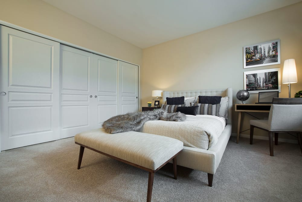 Bedroom with large closets at Uptown in Canton in Canton, Michigan