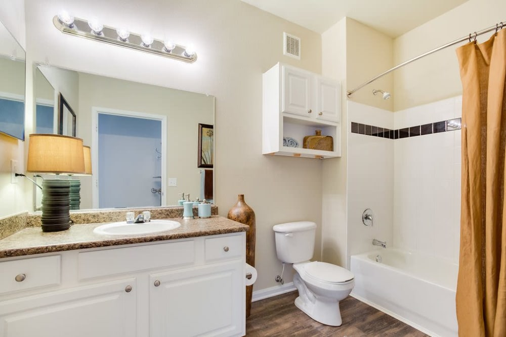 Large, bright bathroom at Reserve at Long Point in Hattiesburg, Mississippi