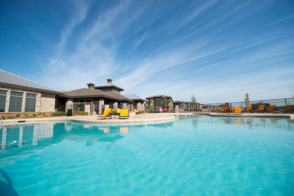 Large resort-style pool at Tradan Heights in Stillwater, Oklahoma
