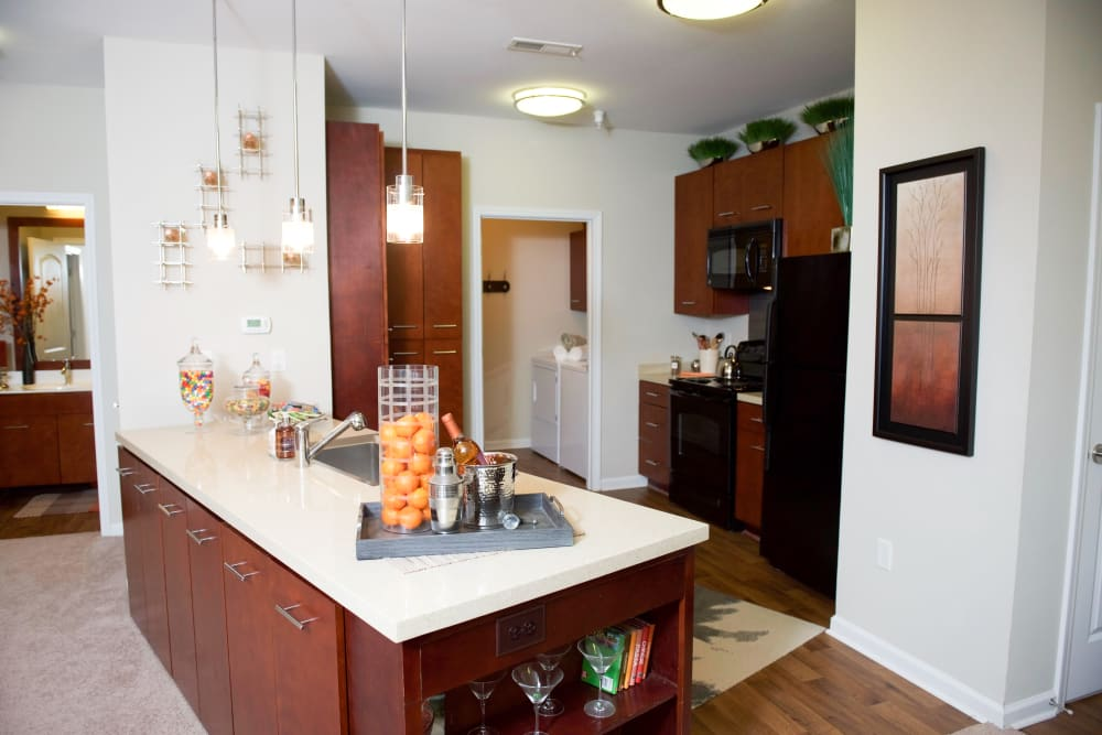 Bright kitchen at Manor Six Forks in Raleigh, North Carolina
