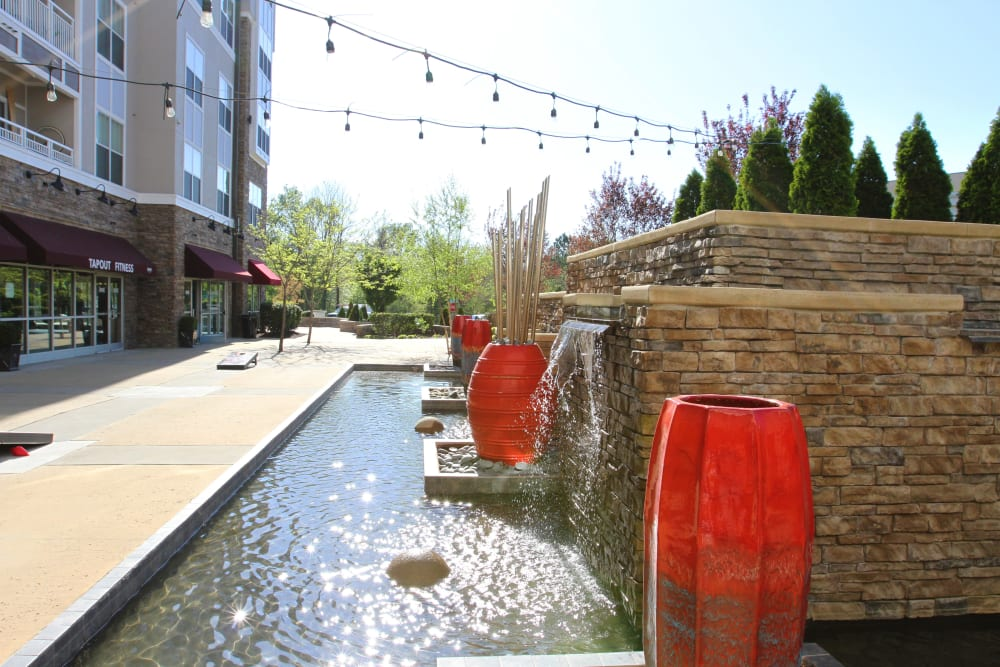 Water feature at Manor Six Forks in Raleigh, North Carolina