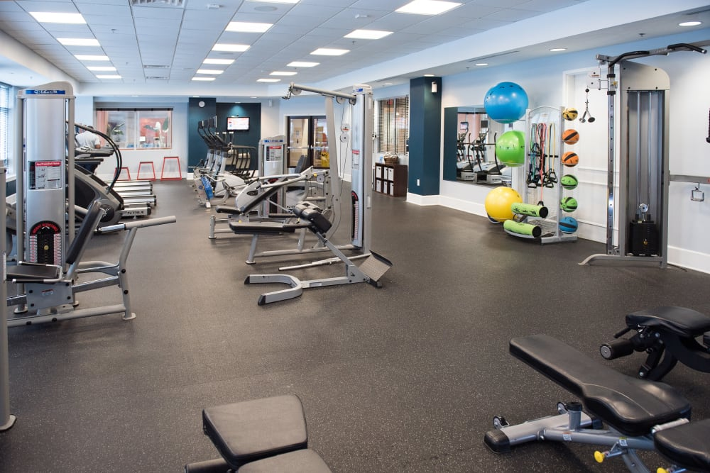 Manor Six Forks offers a fitness center in Raleigh, North Carolina