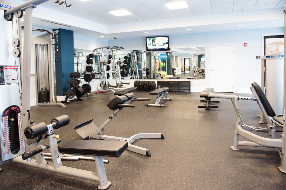 Fully equipped fitness center at Manor Six Forks in Raleigh, North Carolina