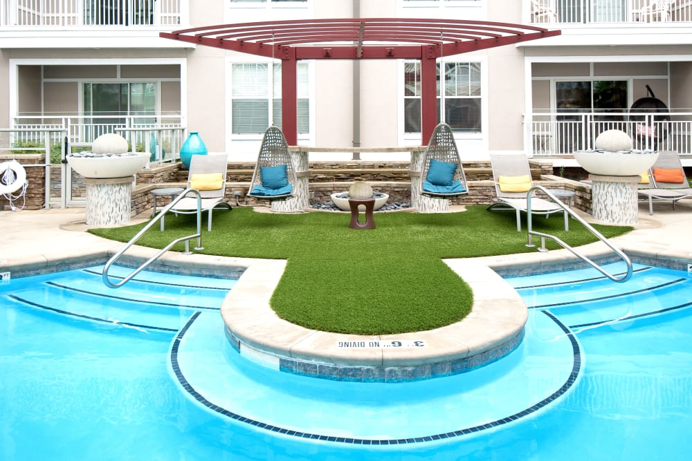Resort style swimming pool at Manor Six Forks in Raleigh, North Carolina