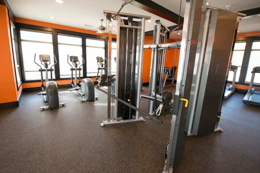 Resident gym at Tradan Heights in Stillwater, Oklahoma