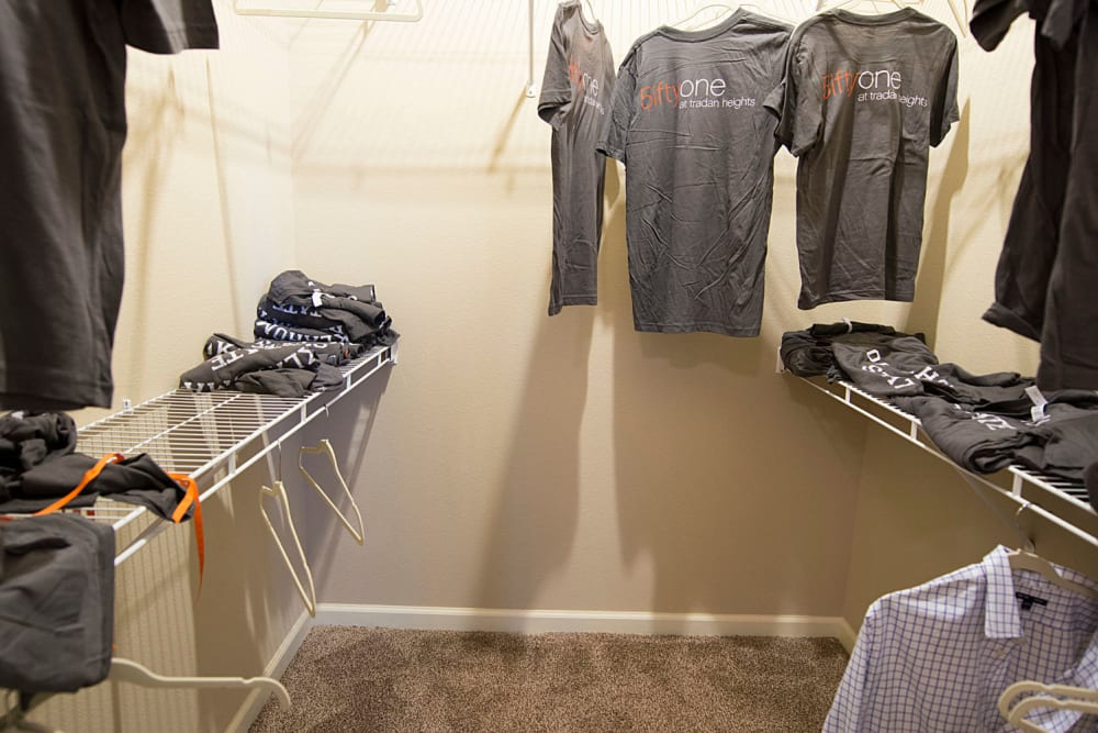 large walk-in closet at Tradan Heights in Stillwater, Oklahoma