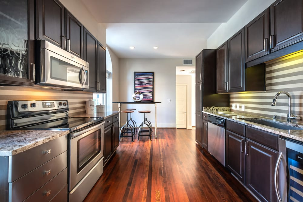 Our beautiful apartments in Dallas, Texas showcase a kitchen