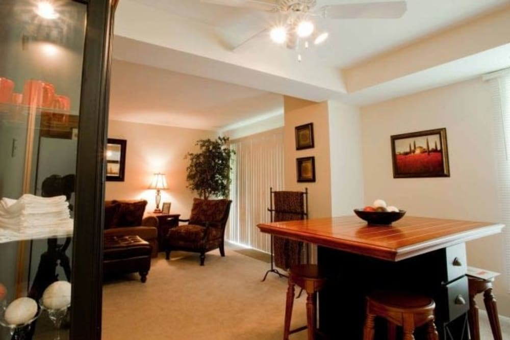 Dining room in model home at Willowbrook Apartments in Jeffersonville, Pennsylvania