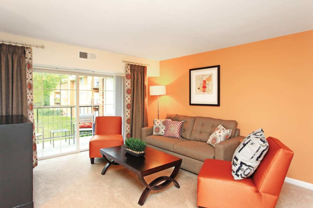 Spacious living room at Mount Vernon Square Apartments in Alexandria, Virginia