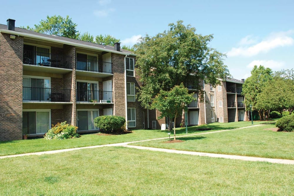 Lush grounds at East Meadow Apartments in Fairfax, Virginia
