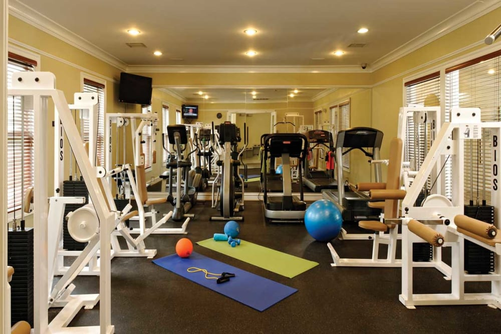 Fitness center for residents at The Village at Potomac Falls Apartment Homes in Sterling, Virginia