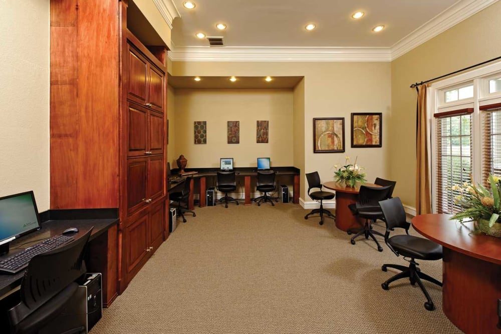 Business center at The Village at Potomac Falls Apartment Homes in Sterling, Virginia