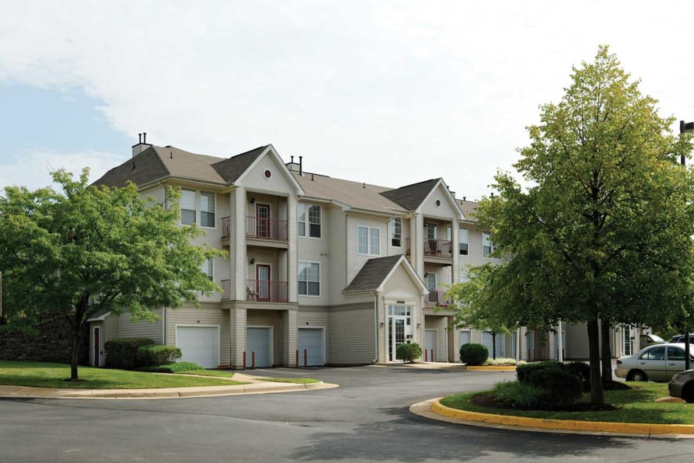 Exterior of our apartment buildings at The Village at Potomac Falls Apartment Homes in Sterling, Virginia