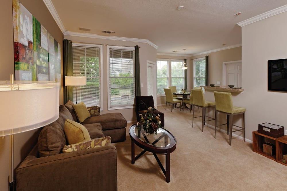 Spacious living room at The Village at Potomac Falls Apartment Homes in Sterling, Virginia