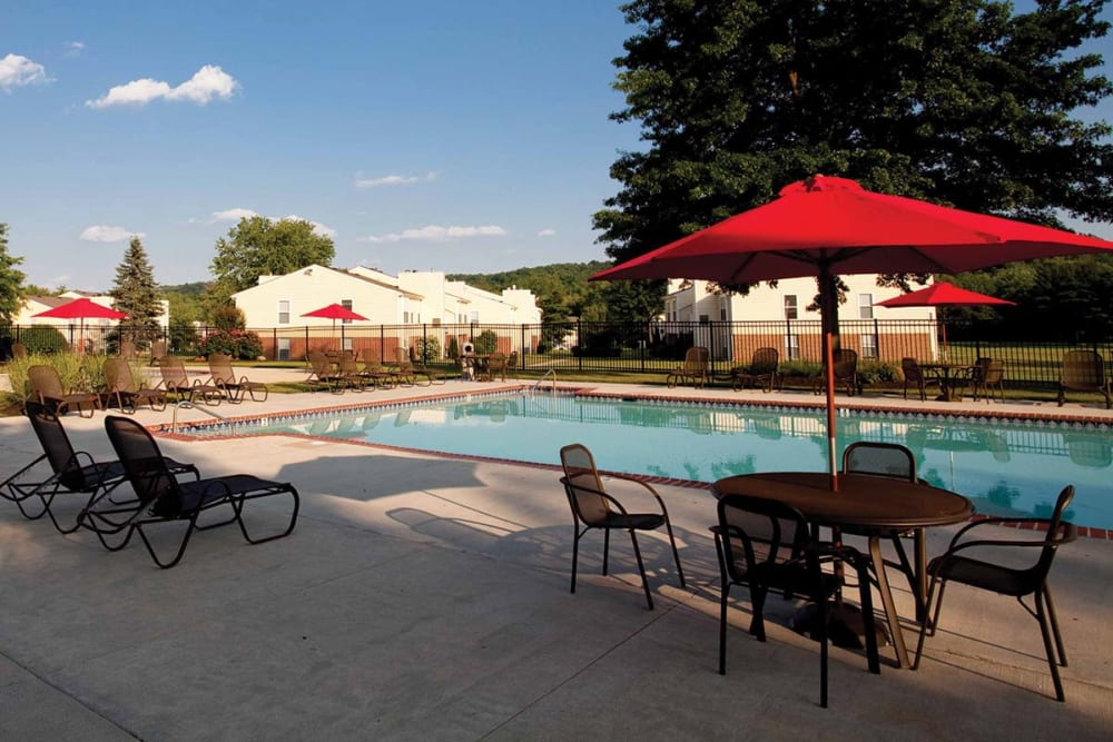Swimming pool on a sunny day at The Preserve at Milltown in Downingtown, Pennsylvania