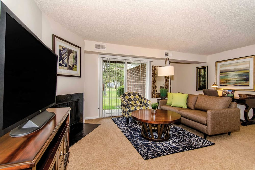 Living room in model home at The Preserve at Milltown in Downingtown, Pennsylvania