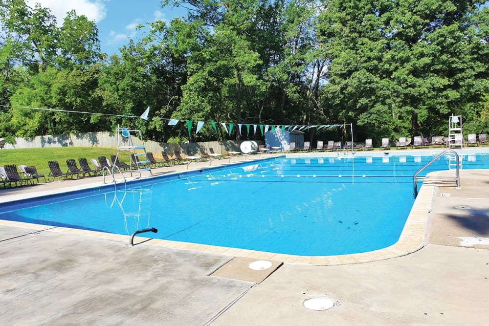 Resort-style swimming pool at Waterview Apartments in West Chester, Pennsylvania