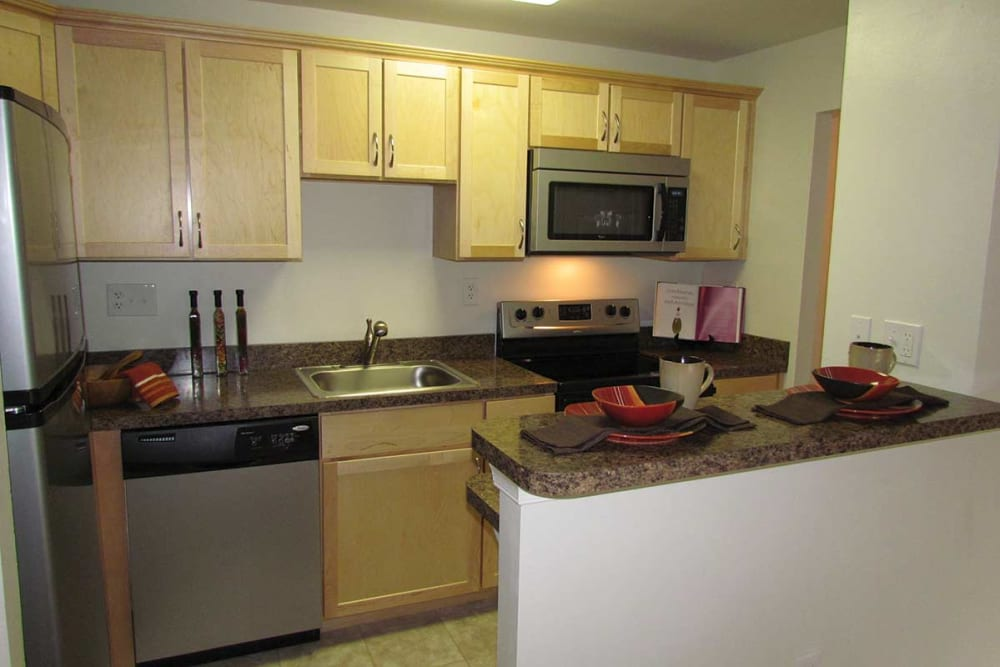 Fully equipped kitchen at Waterview Apartments in West Chester, Pennsylvania