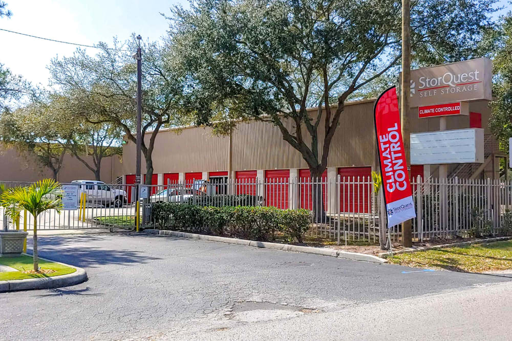 Gated entrance at StorQuest Self Storage in Tampa